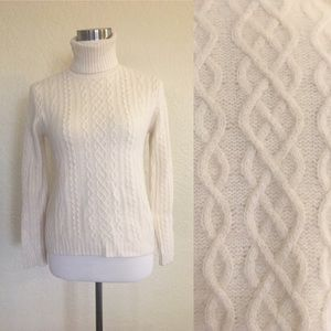Ralph Lauren Cable Knit Fuzzy Turtleneck Sweater